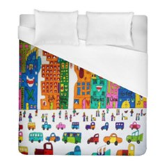 Painted Autos City Skyscrapers Duvet Cover (full/ Double Size)