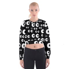 Seamless Eyes Tile Pattern Women s Cropped Sweatshirt by Nexatart