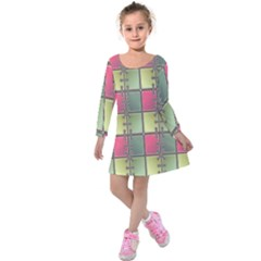 Seamless Pattern Seamless Design Kids  Long Sleeve Velvet Dress