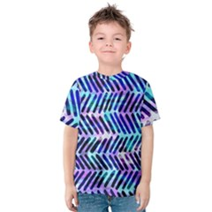Blue Tribal Chevrons  Kids  Cotton Tee by KirstenStar