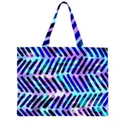 Blue Tribal Chevrons  Zipper Large Tote Bag by KirstenStar