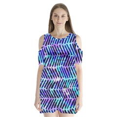 Blue Tribal Chevrons  Shoulder Cutout Velvet  One Piece by KirstenStar