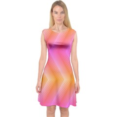 Pattern Background Pink Orange Capsleeve Midi Dress
