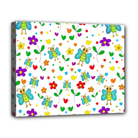 Cute Butterflies And Flowers Pattern Deluxe Canvas 20  X 16   by Valentinaart
