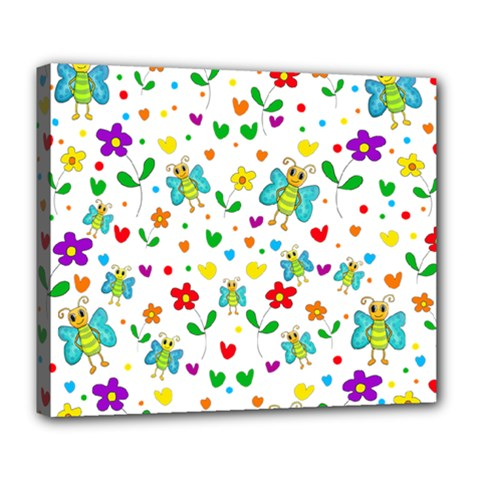 Cute Butterflies And Flowers Pattern Deluxe Canvas 24  X 20   by Valentinaart