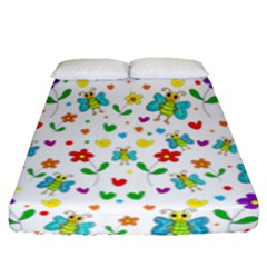 Cute Butterflies And Flowers Pattern Fitted Sheet (queen Size) by Valentinaart