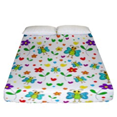 Cute Butterflies And Flowers Pattern Fitted Sheet (california King Size) by Valentinaart