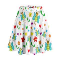 Cute Butterflies And Flowers Pattern High Waist Skirt by Valentinaart