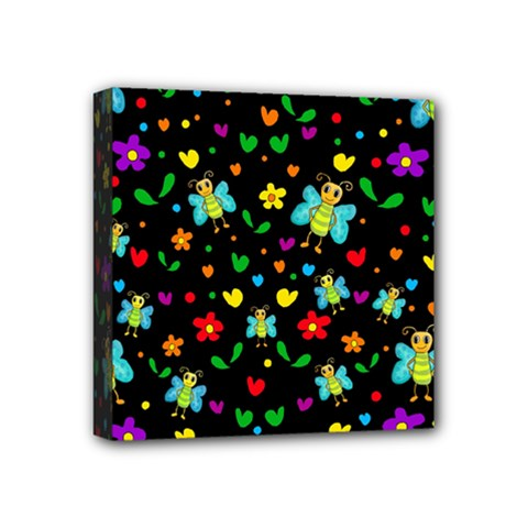 Butterflies And Flowers Pattern Mini Canvas 4  X 4  by Valentinaart
