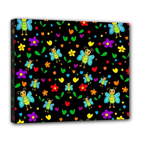 Butterflies And Flowers Pattern Deluxe Canvas 24  X 20   by Valentinaart