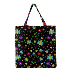 Butterflies And Flowers Pattern Grocery Tote Bag