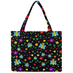 Butterflies And Flowers Pattern Mini Tote Bag by Valentinaart