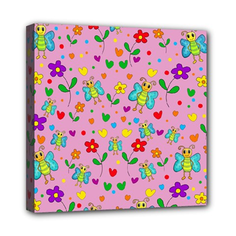 Cute Butterflies And Flowers Pattern   Pink Mini Canvas 8  X 8  by Valentinaart