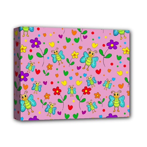 Cute Butterflies And Flowers Pattern   Pink Deluxe Canvas 14  X 11  by Valentinaart