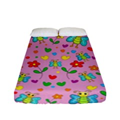 Cute Butterflies And Flowers Pattern   Pink Fitted Sheet (full/ Double Size) by Valentinaart