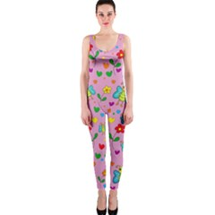 Cute Butterflies And Flowers Pattern   Pink Onepiece Catsuit by Valentinaart