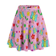 Cute Butterflies And Flowers Pattern   Pink High Waist Skirt by Valentinaart