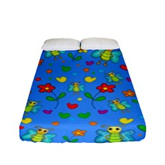 Cute Butterflies And Flowers Pattern - Blue Fitted Sheet (full/ Double Size) by Valentinaart