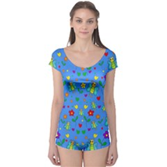 Cute Butterflies And Flowers Pattern   Blue Boyleg Leotard