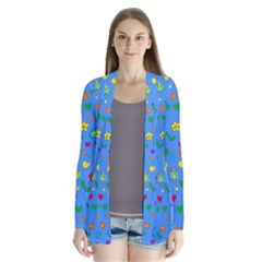Cute Butterflies And Flowers Pattern - Blue Cardigans by Valentinaart