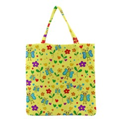 Cute Butterflies And Flowers   Yellow Grocery Tote Bag by Valentinaart
