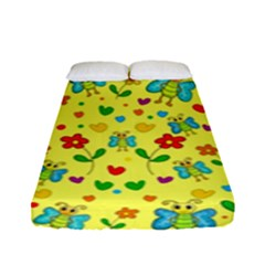 Cute Butterflies And Flowers   Yellow Fitted Sheet (full/ Double Size) by Valentinaart
