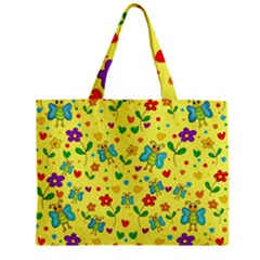 Cute Butterflies And Flowers   Yellow Zipper Mini Tote Bag by Valentinaart
