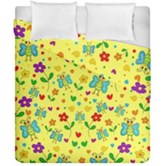 Cute Butterflies And Flowers   Yellow Duvet Cover Double Side (california King Size) by Valentinaart
