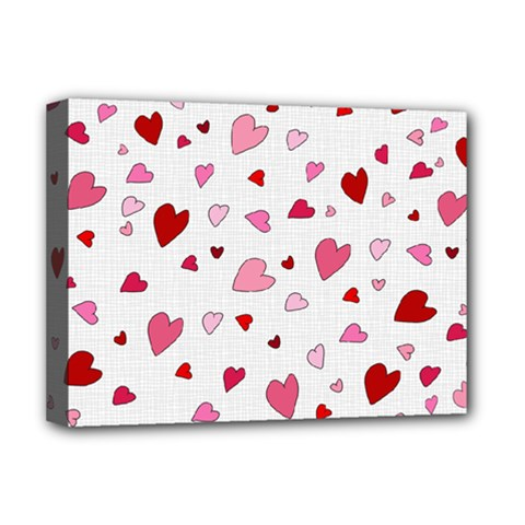 Valentine s Day Hearts Deluxe Canvas 16  X 12   by Valentinaart