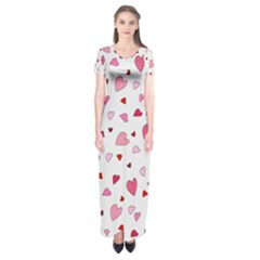 Valentine s Day Hearts Short Sleeve Maxi Dress by Valentinaart
