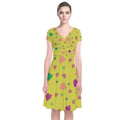 Colorful Hearts Short Sleeve Front Wrap Dress by Valentinaart
