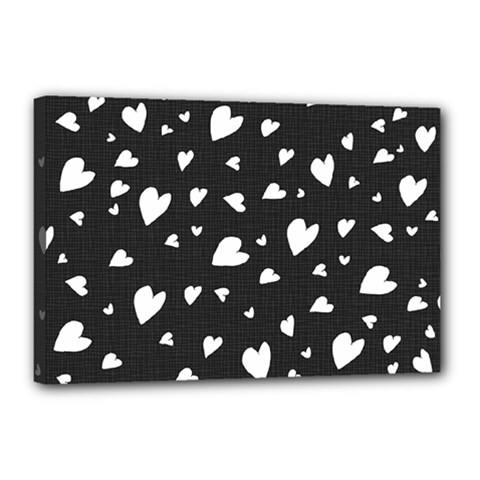Black And White Hearts Pattern Canvas 18  X 12  by Valentinaart