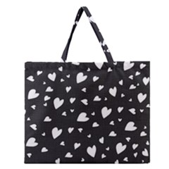 Black And White Hearts Pattern Zipper Large Tote Bag by Valentinaart