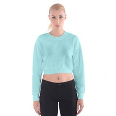 Light Blue Texture Women s Cropped Sweatshirt