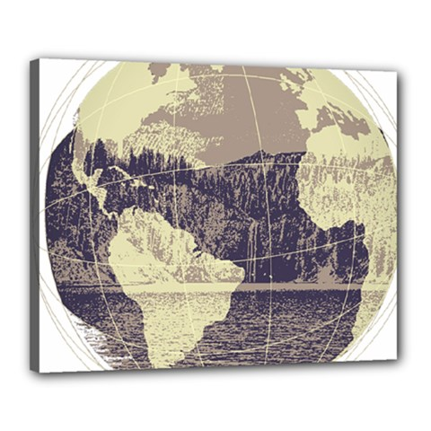 River Globe Canvas 20  X 16  by MTNDesignco