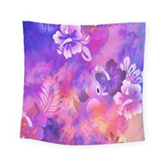 Abstract Flowers Bird Artwork Square Tapestry (small) by Nexatart