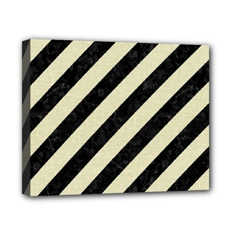 Stripes3 Black Marble & Beige Linen Canvas 10  X 8  (stretched) by trendistuff