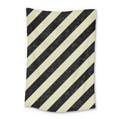 Stripes3 Black Marble & Beige Linen Small Tapestry