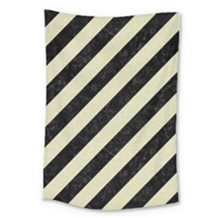 Stripes3 Black Marble & Beige Linen Large Tapestry by trendistuff