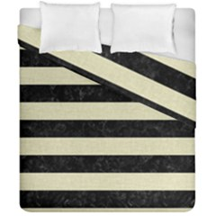 Stripes2 Black Marble & Beige Linen Duvet Cover Double Side (california King Size) by trendistuff