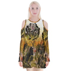 Abstract Digital Art Velvet Long Sleeve Shoulder Cutout Dress