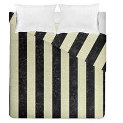 Stripes1 Black Marble & Beige Linen Duvet Cover Double Side (queen Size) by trendistuff