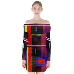 Abstract Art Geometric Background Long Sleeve Off Shoulder Dress
