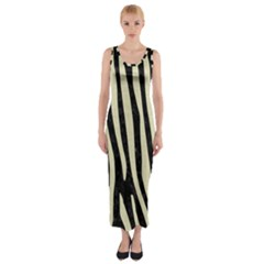 Skin4 Black Marble & Beige Linen (r) Fitted Maxi Dress by trendistuff