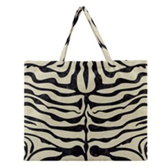 Skin2 Black Marble & Beige Linen (r) Zipper Large Tote Bag by trendistuff