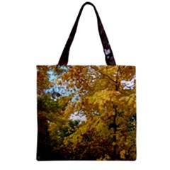 Lush Autumn Leaves With Kitty Grocery Tote Bag by SusanFranzblau