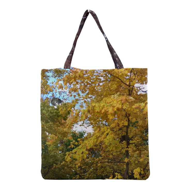 Lush Autumn Leaves with Kitty Grocery Tote Bag