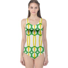 Green Yellow Shapes                                                                                                                   Women s One Piece Swimsuit by LalyLauraFLM