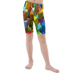 Cubes Assorted Random Toys Kids  Mid Length Swim Shorts