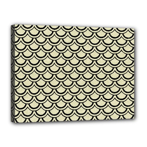 Scales2 Black Marble & Beige Linen (r) Canvas 16  X 12  (stretched) by trendistuff
